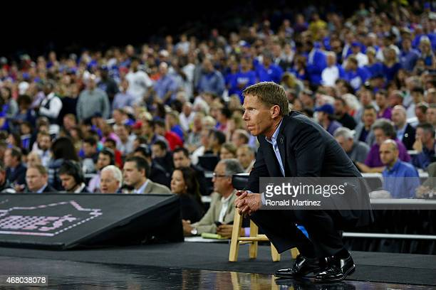 Head coach Mark Few of the Gonzaga Bulldogs looks on from the sideline against the Duke Blue Devils during the South Regional Final of the 2015 NCAA...