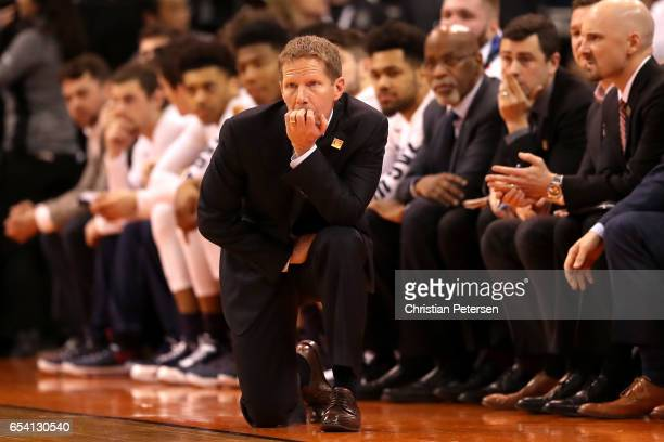 Head coach Mark Few of the Gonzaga Bulldogs looks on in the first half against the South Dakota State Jackrabbits during the first round of the 2017...