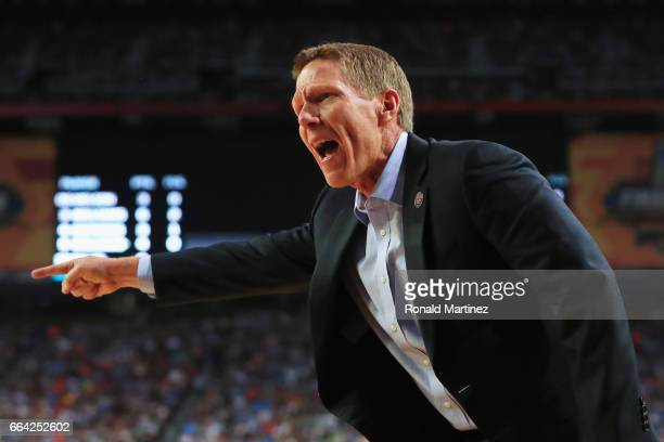 Head coach Mark Few of the Gonzaga Bulldogs looks on in the first half against the North Carolina Tar Heels during the 2017 NCAA Men's Final Four...