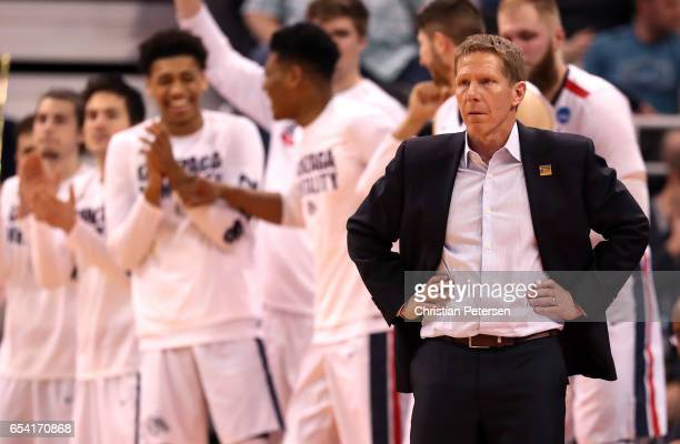 Head coach Mark Few of the Gonzaga Bulldogs looks on late in the second half against the South Dakota State Jackrabbits during the first round of the...