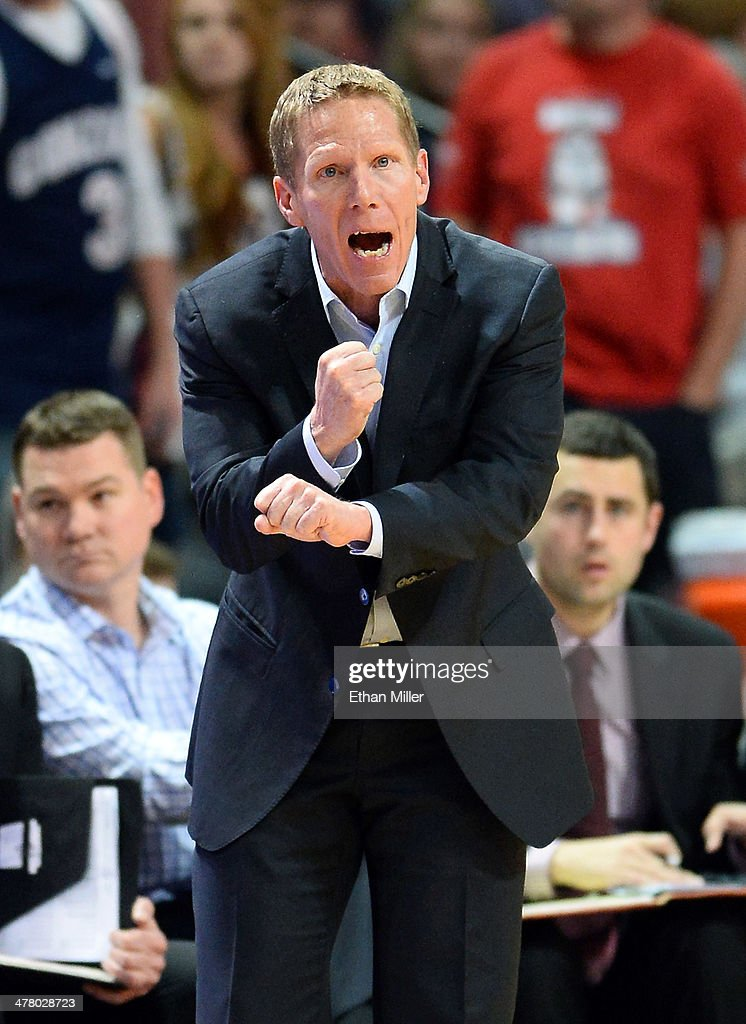 Head coach Mark Few of the Gonzaga Bulldogs signals his players during the championship game of the West Coast Conference Basketball tournament against the Brigham Young Cougars at the Orleans Arena on March 11, 2014 in Las Vegas, Nevada. Gonzaga won 75-64.