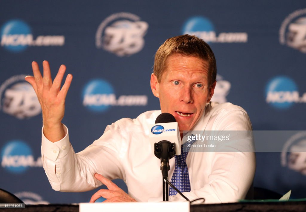 Head coach Mark Few of the Gonzaga Bulldogs talks to the media after loosing to the Wichita State Shockers 76-70 during the third round of the 2013 Men's NCAA Basketball Tournament at EnergySolutions Arena on March 23, 2013 in Salt Lake City, Utah.