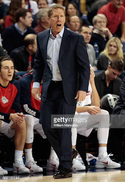 Head coach Mark Few of the Gonzaga Bulldogs works from the sidelines in the first half against the Arizona Wildcats at McCarthey Athletic Center on...
