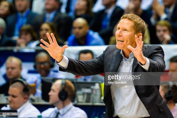 Head coach Mark Few of the Gonzaga Bulldogs yells to players during a game against the Brigham Young Cougars at Marriott Center on February 2 2017 in...