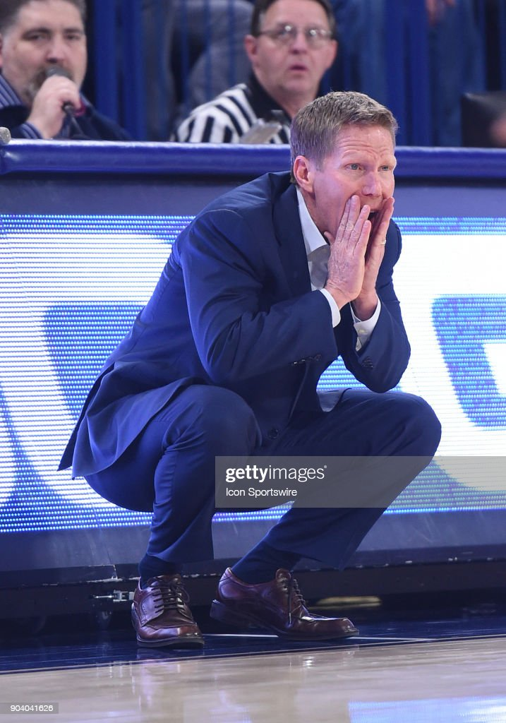 GU head coach Mark Few shouts instructions during the game between the Portland Pilots and the Gonzaga Bulldogs played on January 11, 2018, at McCarthey Athletic Center in Spokane, WA.