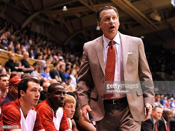 Head coach Mark Gottfried of the North Carolina State Wolfpack directs his team against the Duke Blue Devils during their game at Cameron Indoor...