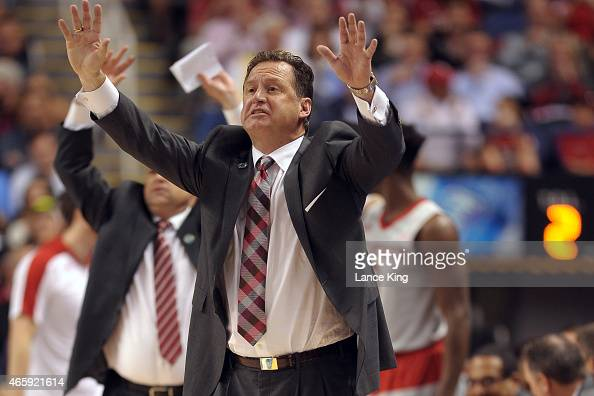 Head Coach Mark Gottfried of the North Carolina State Wolfpack directs his team against the Pittsburgh Panthers during the second round of the 2015...