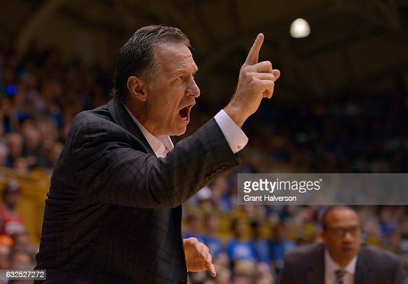 Head coach Mark Gottfried of the North Carolina State Wolfpack directs his team during the game against the Duke Blue Devils at Cameron Indoor...