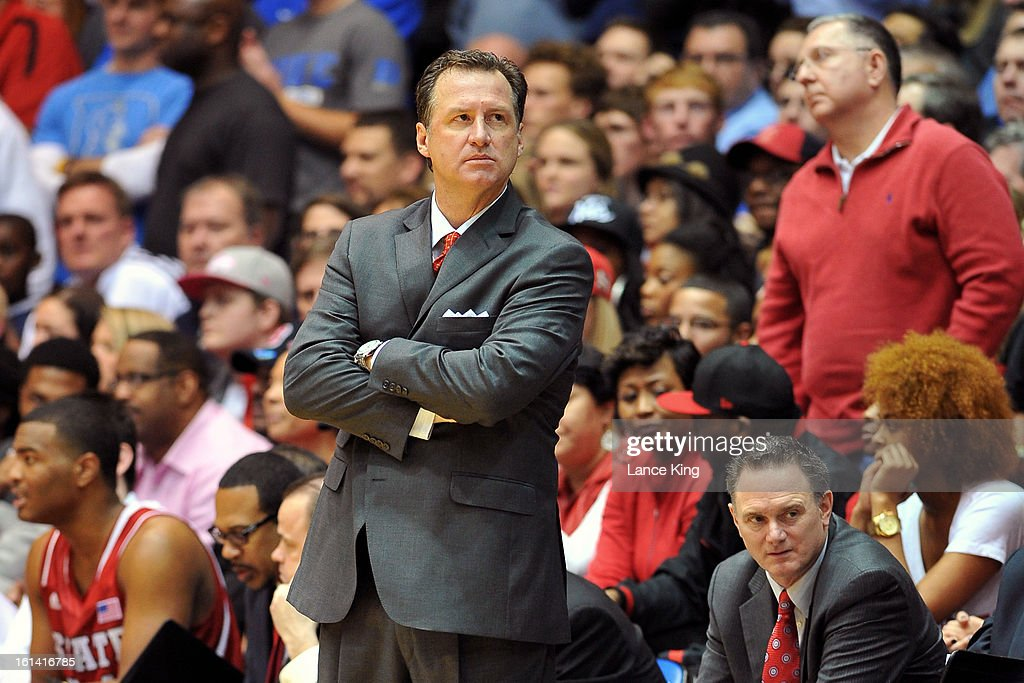 Head Coach Mark Gottfried of the North Carolina State Wolfpack looks on from the sideline during a game against the Duke Blue Devils at Cameron Indoor Stadium on February 7, 2013 in Durham, North Carolina. Duke defeated NC State 98-85.