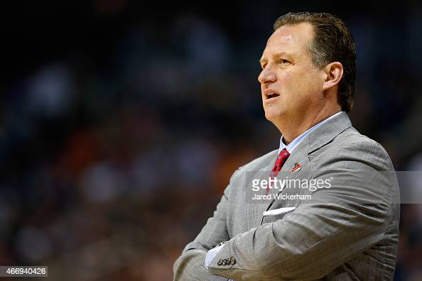 Head coach Mark Gottfried of the North Carolina State Wolfpack looks on against the LSU Tigers during the second round of the 2015 NCAA Men's...