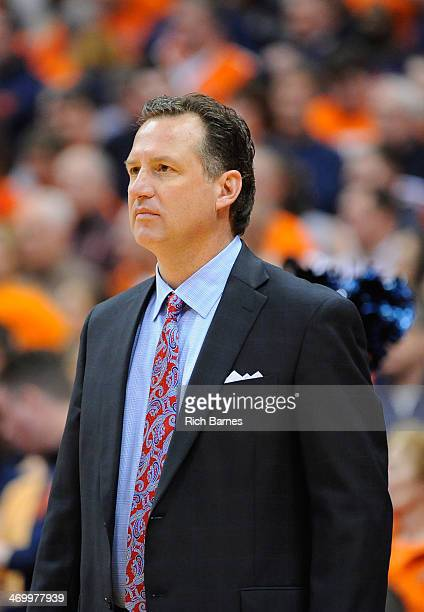 Head coach Mark Gottfried of the North Carolina State Wolfpack looks on against the Syracuse Orange during the second half at the Carrier Dome on...