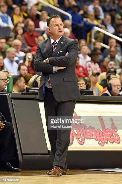 Head coach Mark Gottfried of the North Carolina State Wolfpack looks on during the first round game of the ACC Tournament against the Wake Forest...