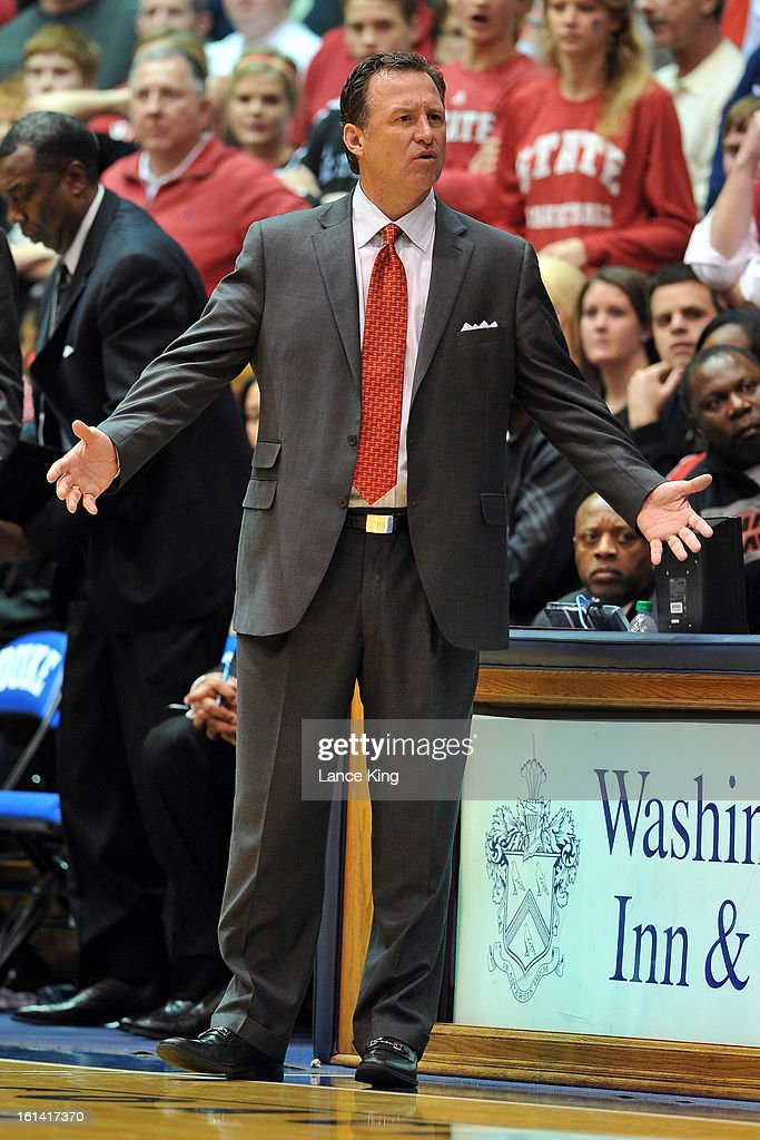 Head Coach Mark Gottfried of the North Carolina State Wolfpack reacts to a call from the sideline during a game against the Duke Blue Devils at Cameron Indoor Stadium on February 7, 2013 in Durham, North Carolina. Duke defeated NC State 98-85.