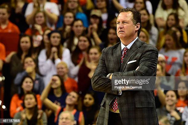 Head coach Mark Gottfried of the North Carolina State Wolfpack reacts in the first half during a game against the Virginia Cavaliers at John Paul...