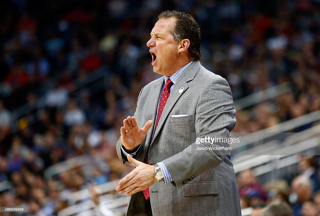 Head coach <a gi-track='captionPersonalityLinkClicked' href=/galleries/search?phrase=Mark+Gottfried&family=editorial&specificpeople=801295 ng-click='$event.stopPropagation()'>Mark Gottfried</a> of the North Carolina State Wolfpack reacts against the LSU Tigers in the first half during the second round of the 2015 NCAA Men's Basketball Tournament at Consol Energy Center on March 19, 2015 in Pittsburgh, Pennsylvania.