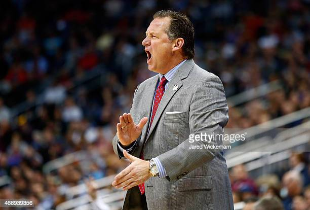 Head coach Mark Gottfried of the North Carolina State Wolfpack reacts against the LSU Tigers in the first half during the second round of the 2015...