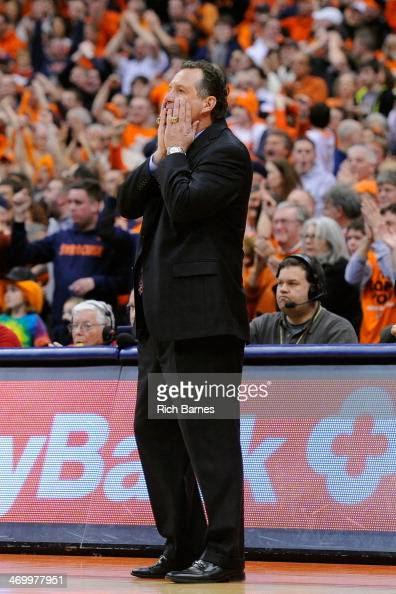 Head coach Mark Gottfried of the North Carolina State Wolfpack reacts to a play against the Syracuse Orange during the second half at the Carrier...