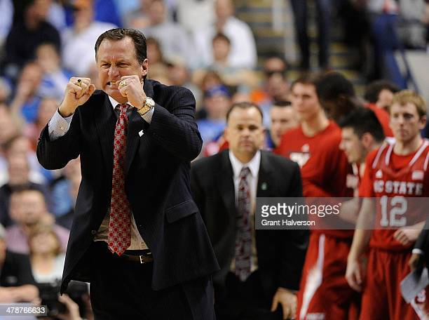Head coach Mark Gottfried of the North Carolina State Wolfpack reacts in a 6663 win over the Syracuse Orange during the quarterfinals of the 2014...