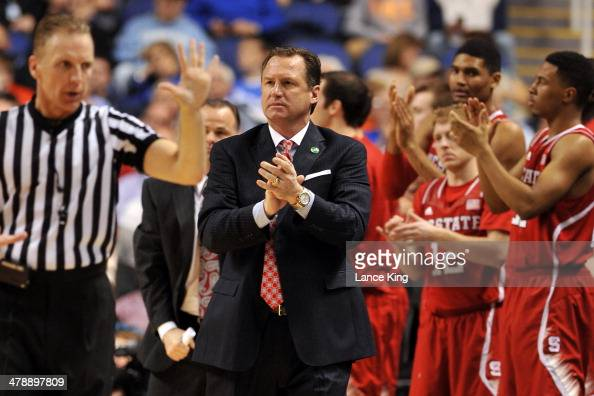 Head Coach Mark Gottfried of the North Carolina State Wolfpack reacts to a call against the Syracuse Orange during the quarterfinals of the 2014...