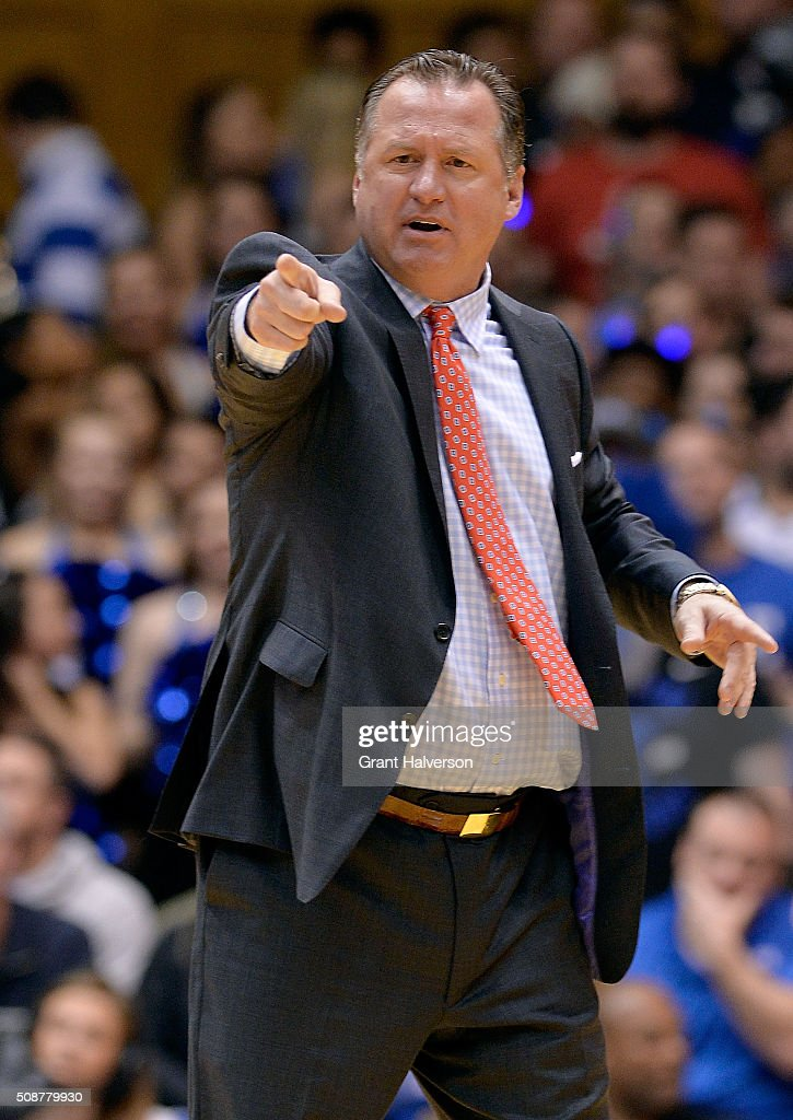 Head coach <a gi-track='captionPersonalityLinkClicked' href=/galleries/search?phrase=Mark+Gottfried&family=editorial&specificpeople=801295 ng-click='$event.stopPropagation()'>Mark Gottfried</a> of the North Carolina State Wolfpack reacts during their game against the Duke Blue Devils at Cameron Indoor Stadium on February 6, 2016 in Durham, North Carolina.
