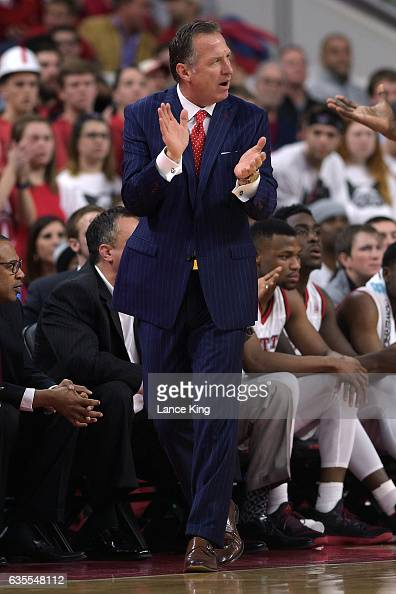 Head coach Mark Gottfried of the North Carolina State Wolfpack reacts during a game against the North Carolina Tar Heels at PNC Arena on February 15...