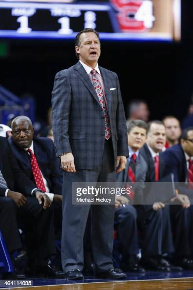 Head coach Mark Gottfried of the North Carolina State Wolfpack seen on the sidelines during the game against the Notre Dame Fighting Irish at Purcel...