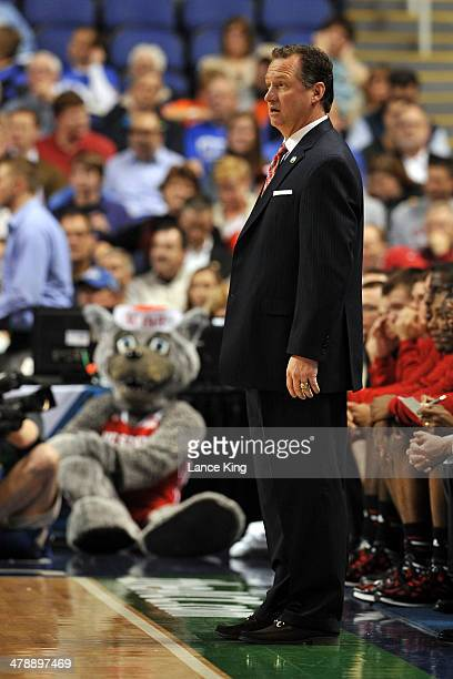 Head Coach Mark Gottfried of the North Carolina State Wolfpack gestures against the Syracuse Orange during the quarterfinals of the 2014 Men's ACC...