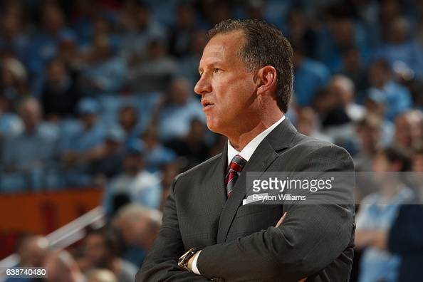 Head coach Mark Gottfried of the North Carolina State Wolfpack coaches against the North Carolina Tar Heels on January 08 2017 at the Dean E Smith...