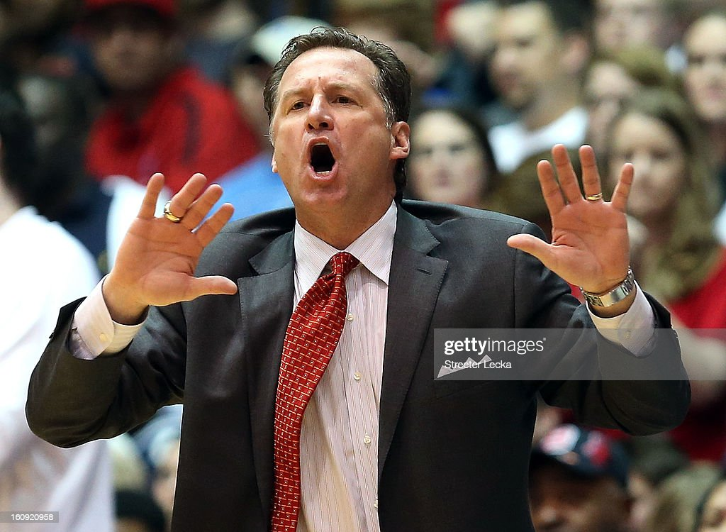 Head coach Mark Gottfried of the North Carolina State Wolfpack yells to his team during their game against the Duke Blue Devils at Cameron Indoor Stadium on February 7, 2013 in Durham, North Carolina.