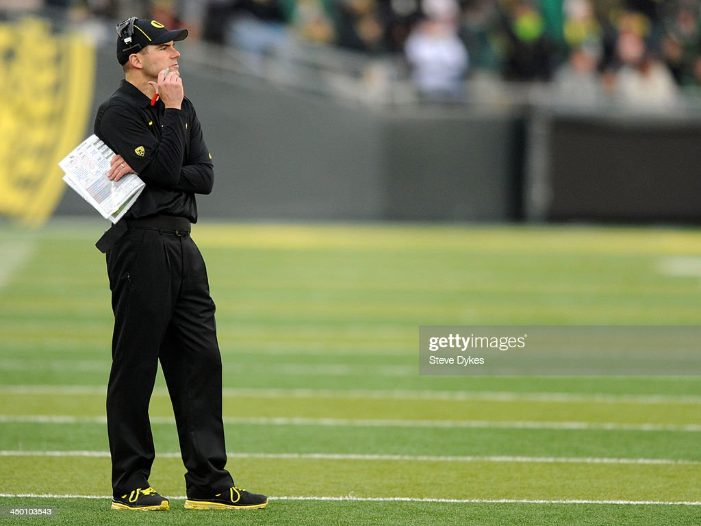 Head coach Mark Helfrich of the Oregon Ducks looks on during the third quarter of the game against the Utah Utes at Autzen Stadium on November 16, 2013 in Eugene, Oregon.