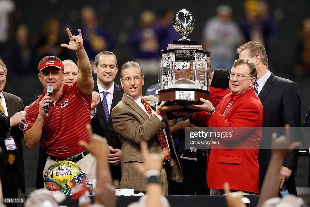 Head coach Mark Hudspeth of the Louisiana-Lafayette Ragin Cajuns celebrates after defeating the East Carolina Pirates 43-34 during the R+L Carriers New Orleans Bow at the Mercedes-Benz Superdome on December 22, 2012 in New Orleans, Louisiana.