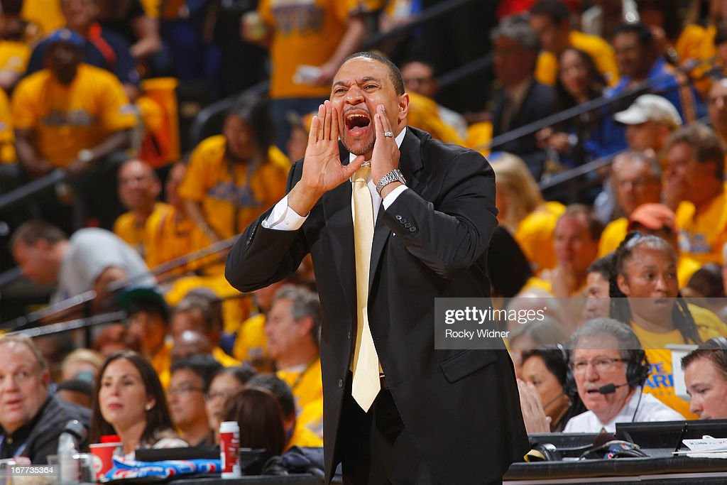 Head Coach Mark Jackson of the Golden State Warriors calls a play against the Denver Nuggets in Game Four of the Western Conference Quarterfinals during the 2013 NBA Playoffs on April 28, 2013 at Oracle Arena in Oakland, California.