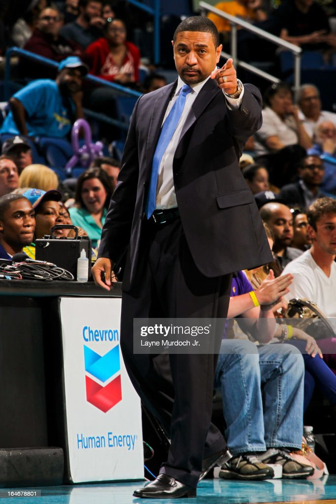 Head Coach Mark Jackson of the Golden State Warriors directs his team against the New Orleans Hornets on March 18, 2013 at the New Orleans Arena in New Orleans, Louisiana.
