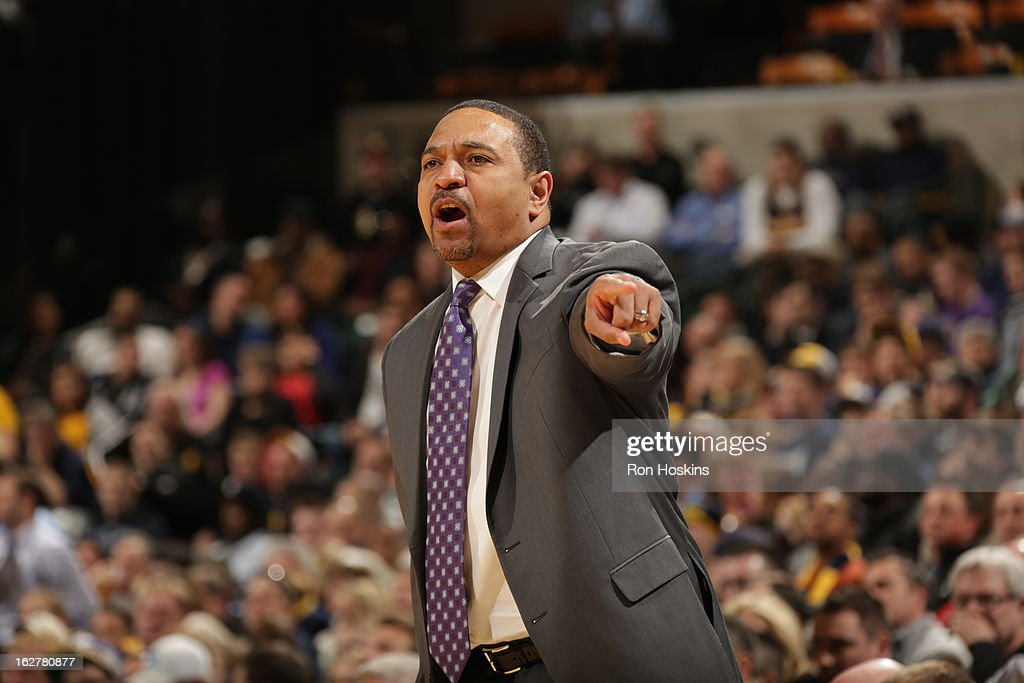 Head Coach Mark Jackson of the Golden State Warriors gives direction against the Indiana Pacers on February 26, 2013 at Bankers Life Fieldhouse in Indianapolis, Indiana.