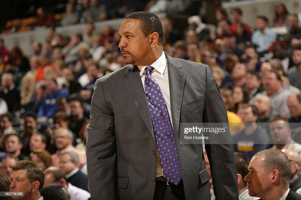 Head Coach Mark Jackson of the Golden State Warriors looks to give direction against the Indiana Pacers on February 26, 2013 at Bankers Life Fieldhouse in Indianapolis, Indiana.