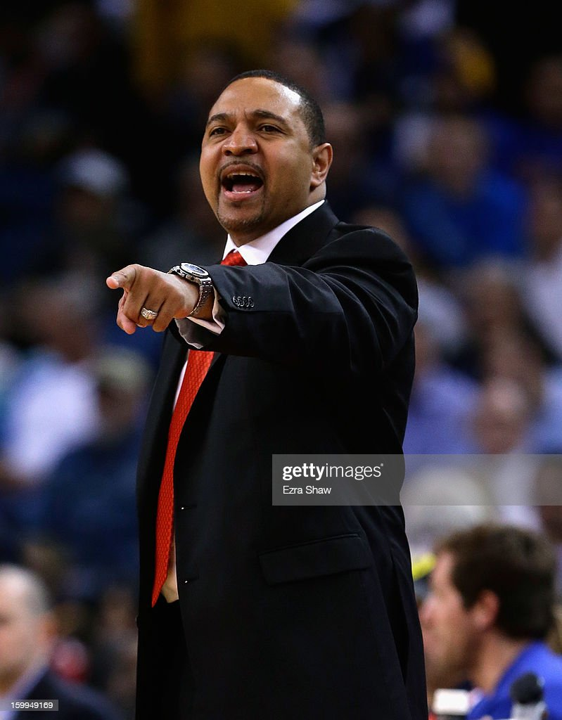 Head coach Mark Jackson of the Golden State Warriors on the sideline during their game against the Los Angeles Clippers at Oracle Arena on January 21, 2013 in Oakland, California.