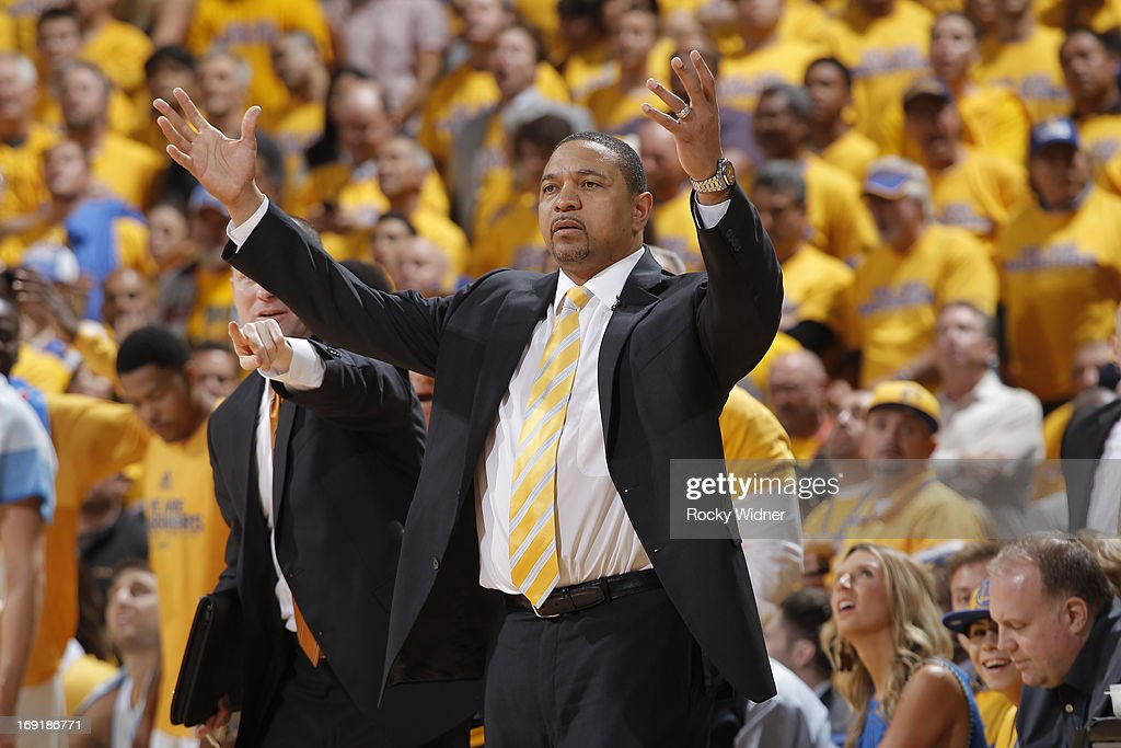 Head Coach Mark Jackson of the Golden State Warriors reacts during the game against the San Antonio Spurs in Game Six of the Western Conference Semifinals during the 2013 NBA Playoffs on May 16, 2013 at Oracle Arena in Oakland, California.