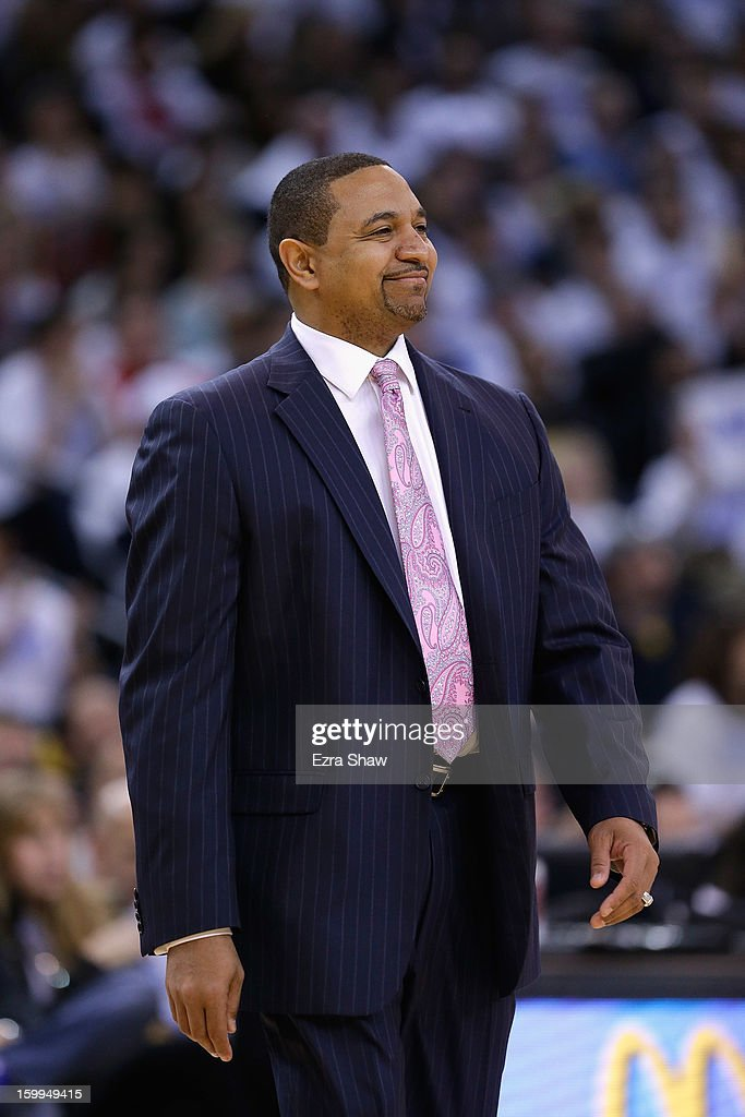 Head coach Mark Jackson of the Golden State Warriors smiles during their victory over against the Los Angeles Clippers at Oracle Arena on January 2, 2013 in Oakland, California.