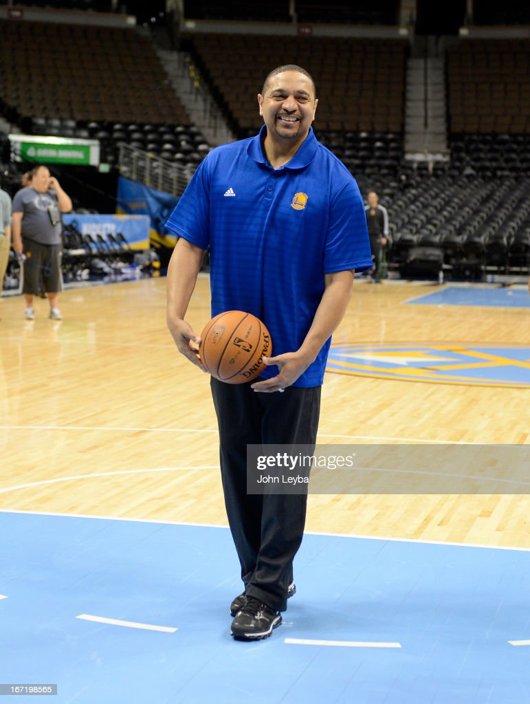 Head Coach Mark Jackson of the Golden State Warriors smiles during their practice April 22, 2013 at Pepsi Center. The Golden State Warriors prepare for game two of the first round of the NBA playoffs against the Denver Nuggets.