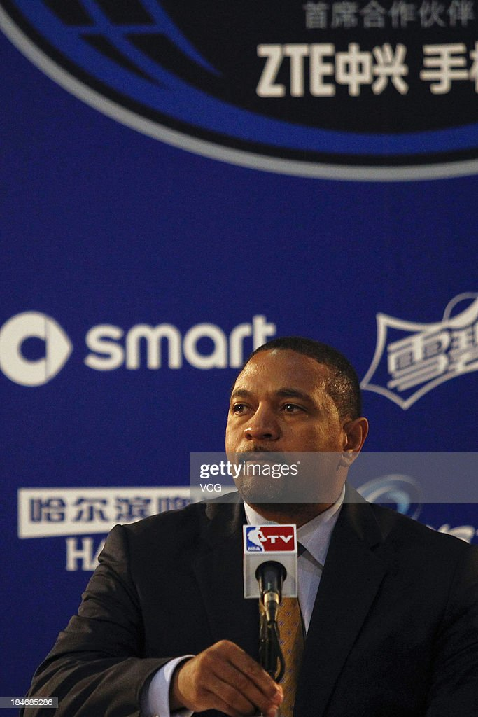 Head Coach <a gi-track='captionPersonalityLinkClicked' href=/galleries/search?phrase=Mark+Jackson+-+Basketball+Coach&family=editorial&specificpeople=203051 ng-click='$event.stopPropagation()'>Mark Jackson</a> of the Golden State Warriors speaks to the media after the game against the Los Angeles Lakers during the 2013 Global Games at the MasterCard Center on October 15, 2013 in Beijing, China.