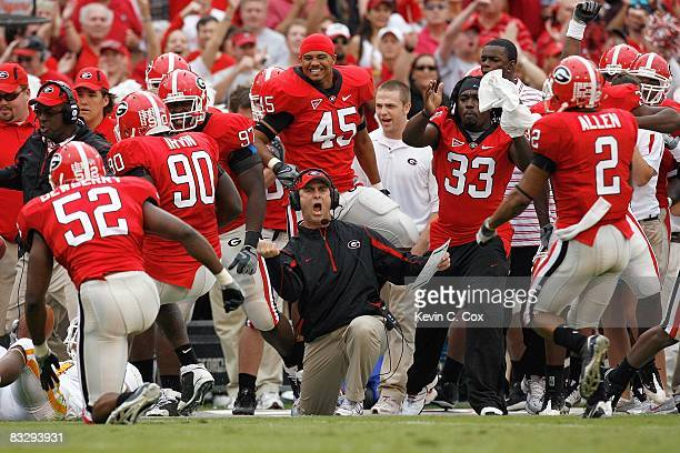 Head coach Mark Richt of the Georgia Bulldogs reacts on the sidelines during the game against the Tennessee Volunteers at Sanford Stadium on October...