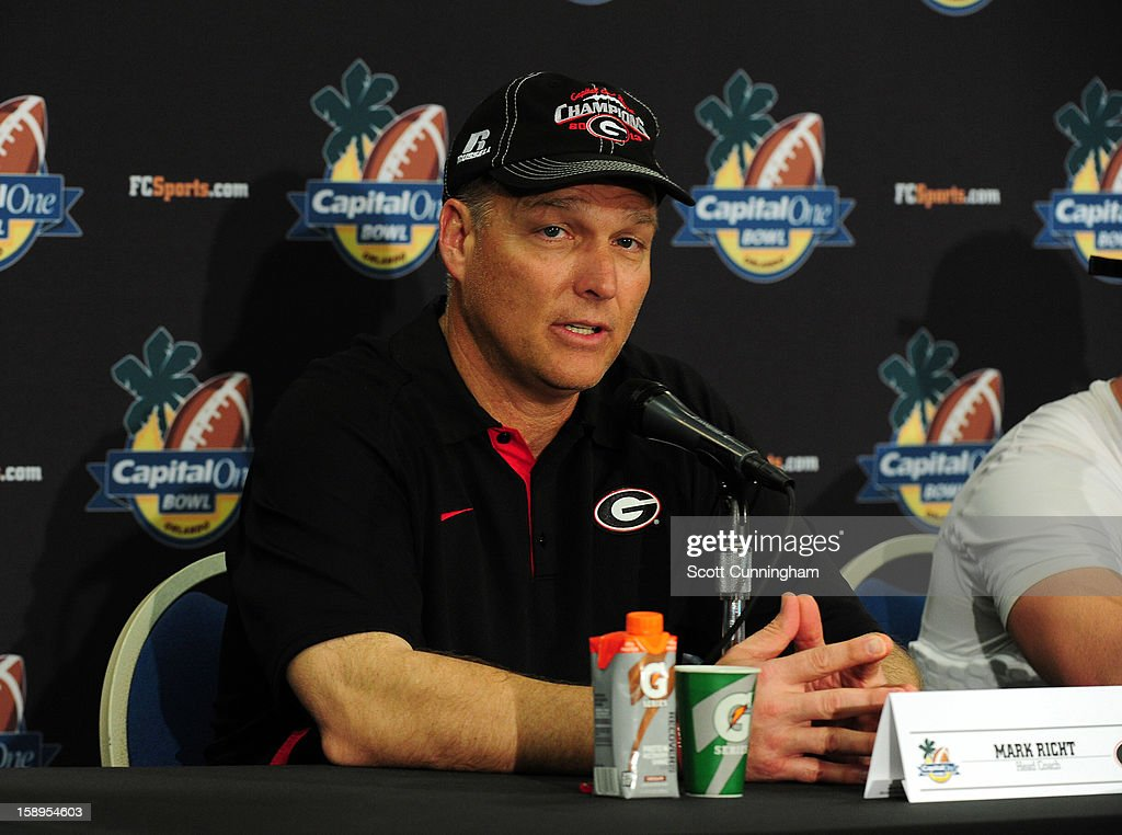 Head Coach Mark Richt of the Georgia Bulldogs speaks to the media after the Capital One Bowl against the Nebraska Cornhuskers at the Citrus Bowl on January 1, 2013 in Orlando, Florida.
