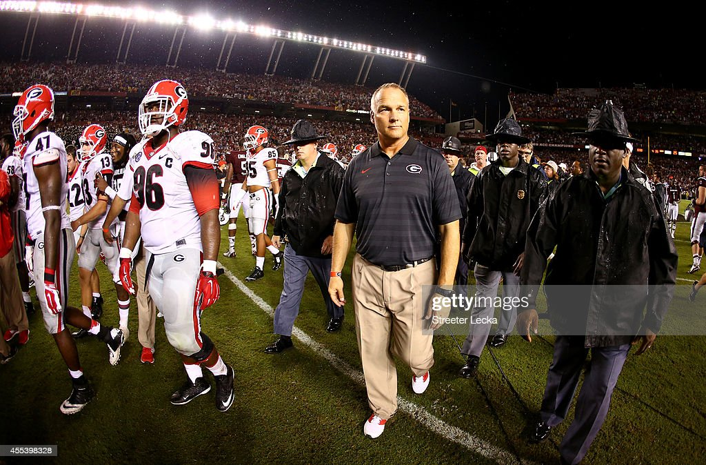 Head coach Mark Richt of the Georgia Bulldogs walks off the field after being defeated 3835 by the South Carolina Gamecocks at WilliamsBrice Stadium...