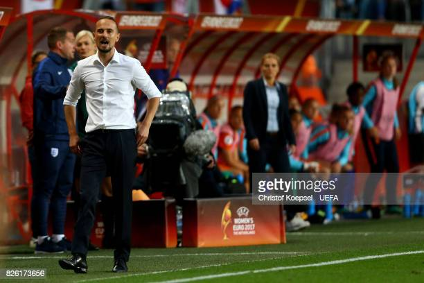 Head coach Mark Sampson of England reacts during the UEFA Women's Euro 2017 Second Semi Final match between Netherlands and England at De Grolsch...