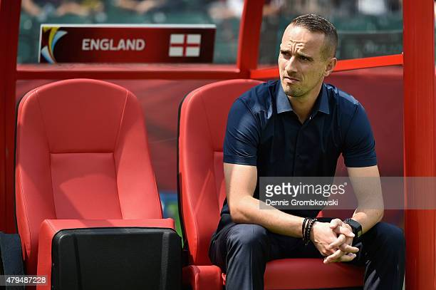 Head coach Mark Sampson of England reacts prior to kickoff during the FIFA Women's World Cup Canada 2015 Third Place Playoff match between Germany...