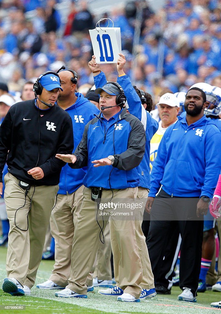 Head coach <a gi-track='captionPersonalityLinkClicked' href=/galleries/search?phrase=Mark+Stoops&family=editorial&specificpeople=4957711 ng-click='$event.stopPropagation()'>Mark Stoops</a> of the Kentucky Wildcats reacts to his teams play against the Louisiana Monroe Warhawks at Commonwealth Stadium on October 11, 2014 in Lexington, Kentucky.