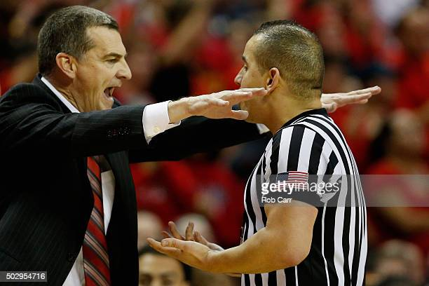Head coach Mark Turgeon of the Maryland Terrapins argues a foul call with an official in the second half against the Penn State Nittany Lions at...