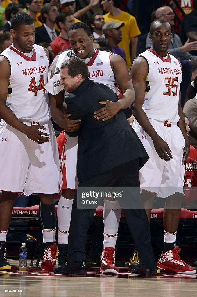 Head coach Mark Turgeon of the Maryland Terrapins celebrates with Charles Mitchell #0 during the game against the Duke Blue Devils at the Comcast Center on February 16, 2013 in College Park, Maryland. Maryland won the game 83-81.