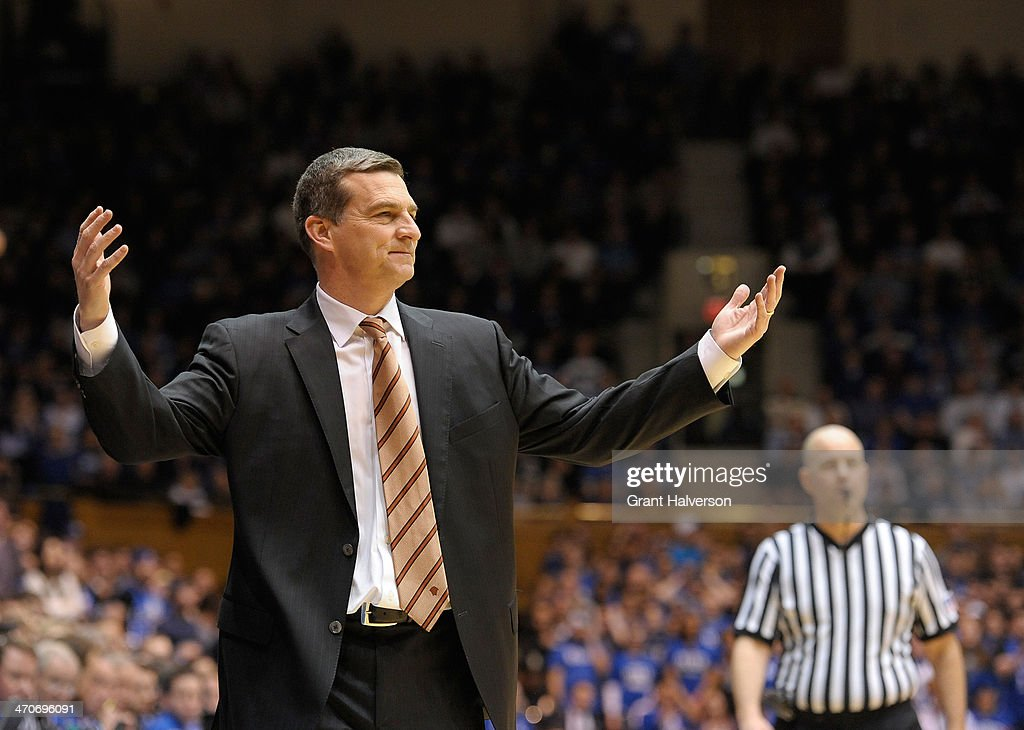 Head coach Mark Turgeon of the Maryland Terrapins directs his team against the Duke Blue Devils at Cameron Indoor Stadium on February 15, 2014 in Durham, North Carolina.