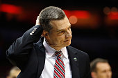 Head coach Mark Turgeon of the Maryland Terrapins reacts after being defeated by the Kansas Jayhawks 7963 during the 2016 NCAA Men's Basketball...